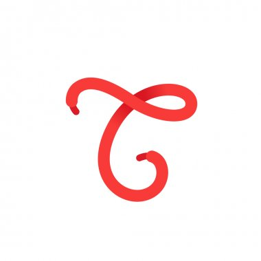 T letter logo formed by shoe lace.