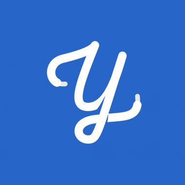 Y letter logo formed by shoe lace.