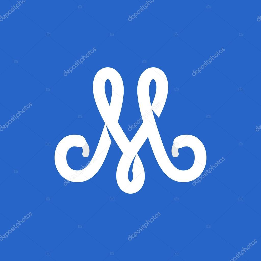 294d517f6 Logomarca da letra M formada por cadarço — Vetores de Stock ...
