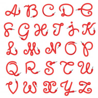 Alphabet letters logo formed by jack cable.