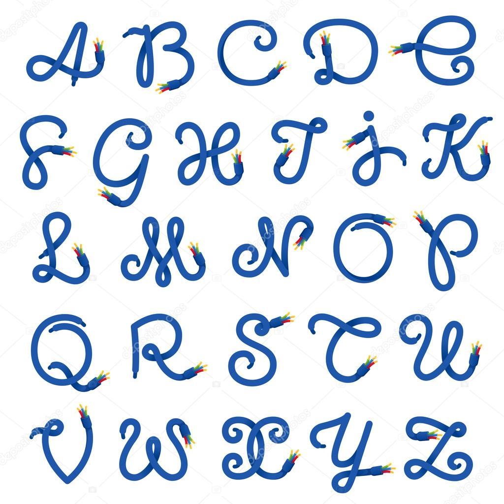 Lettere Cinesi Alfabeto: Logo Di Lettere Alfabeto Formato Da Cavo Elettrico