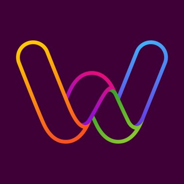W letter one line neon colorful logo.