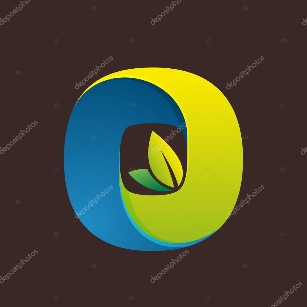 O letter logo with green leaves.