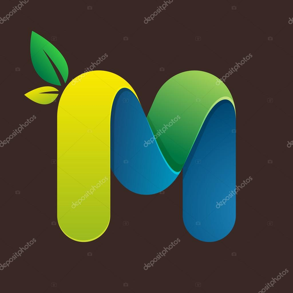 M letter logo with green leaves.