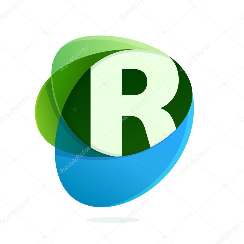 Letra R con hojas de color verde y azul gotas — Vector de stock ...