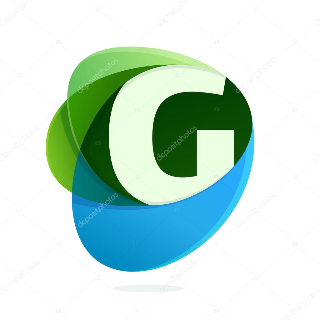 G letter with green leaves and blue drops.