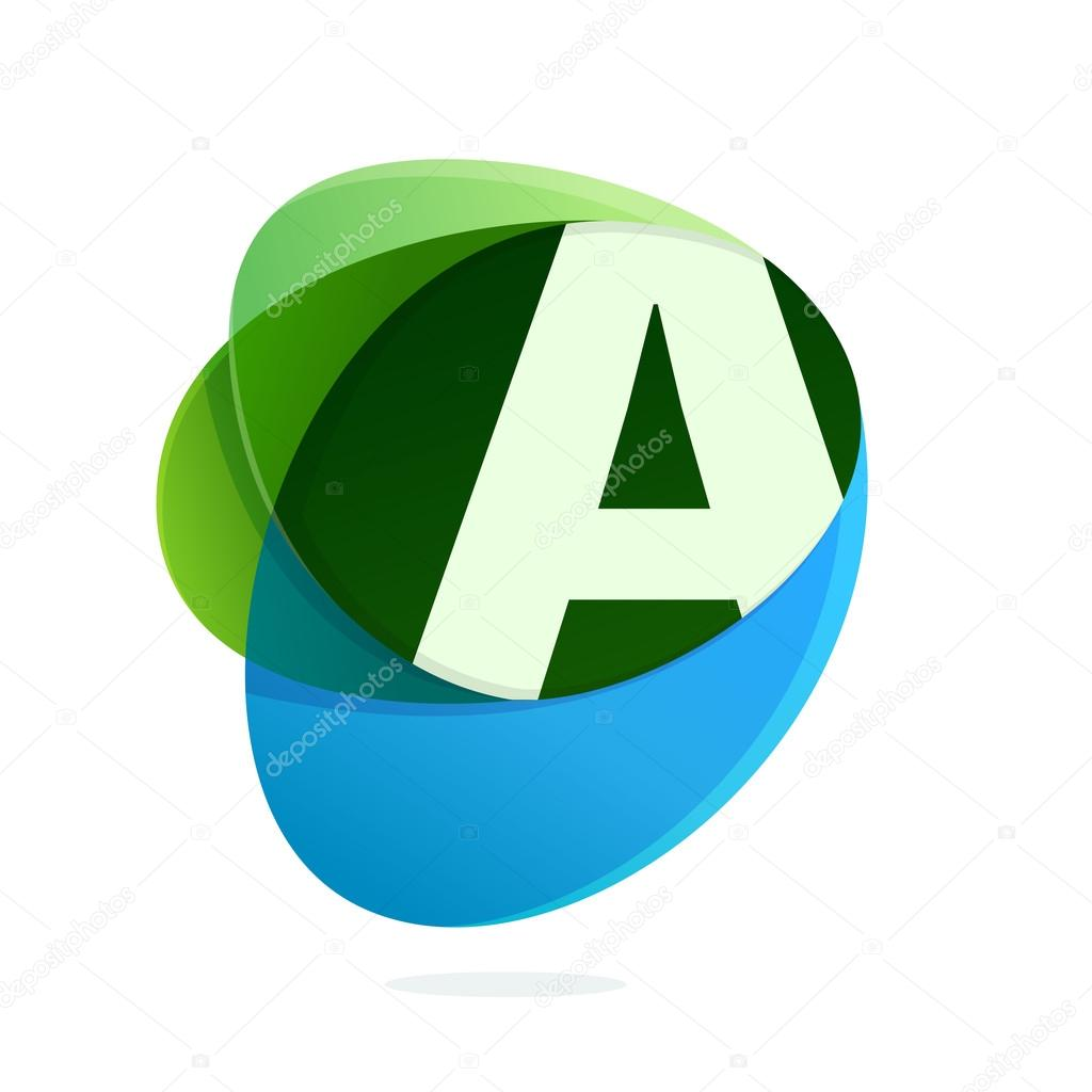 Letter A with green leaves and blue drops.