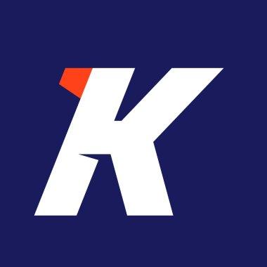 K letter sport logo design template.