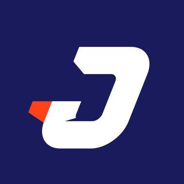 J letter sport logo design template.