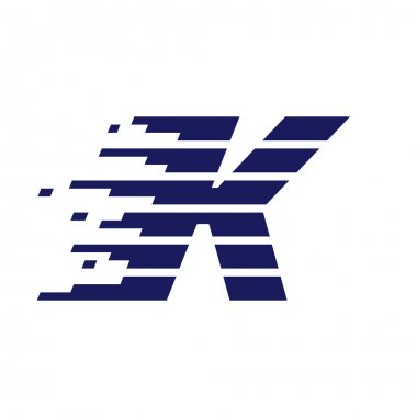 K letter logo with fast speed lines.