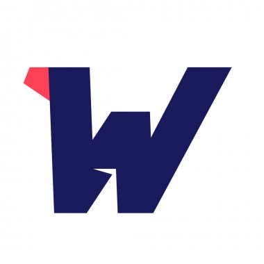 W letter run logo design template.