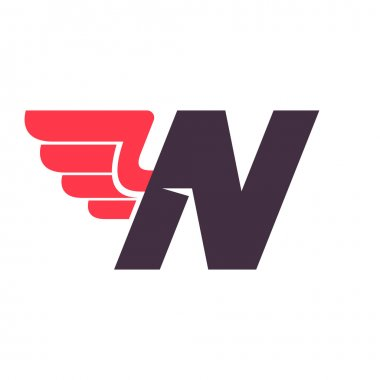 N letter with wing logo design template.