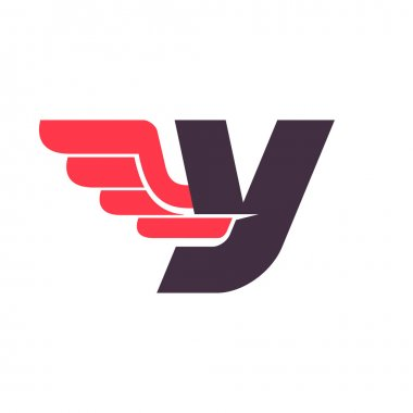 Y letter with wing logo design template.