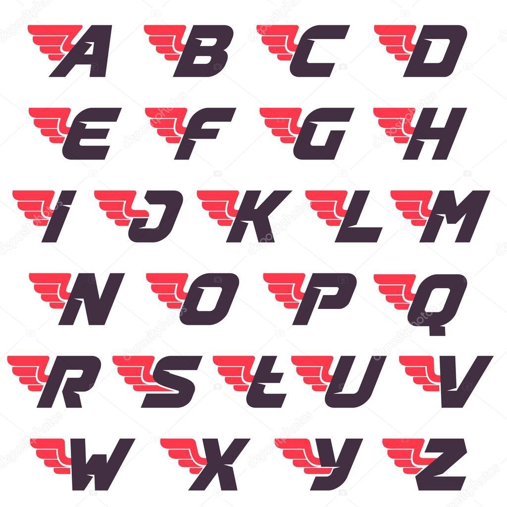 winged alphabet logos design template stock vector kaer dstock