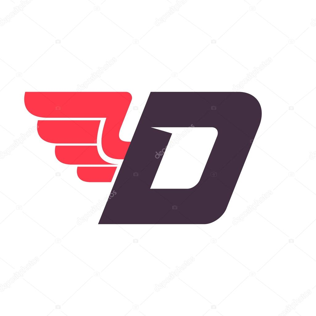 D Sports Logo d letter with wing logo design template. — stock vector