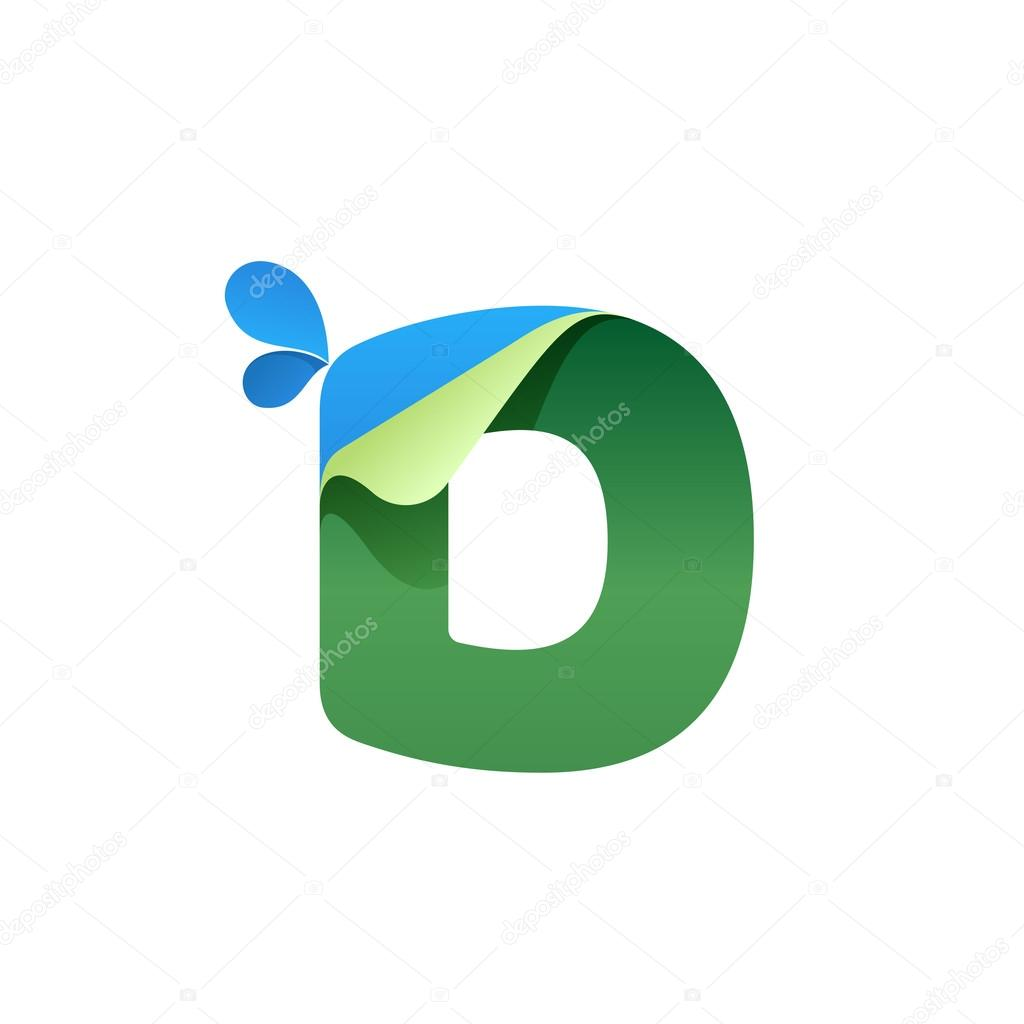 D letter logo with blue drops