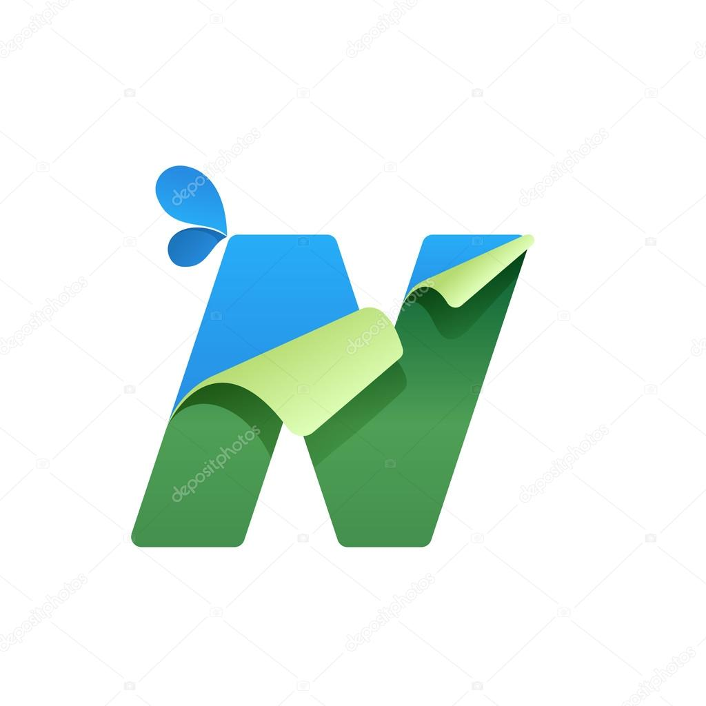 N letter logo with blue drops