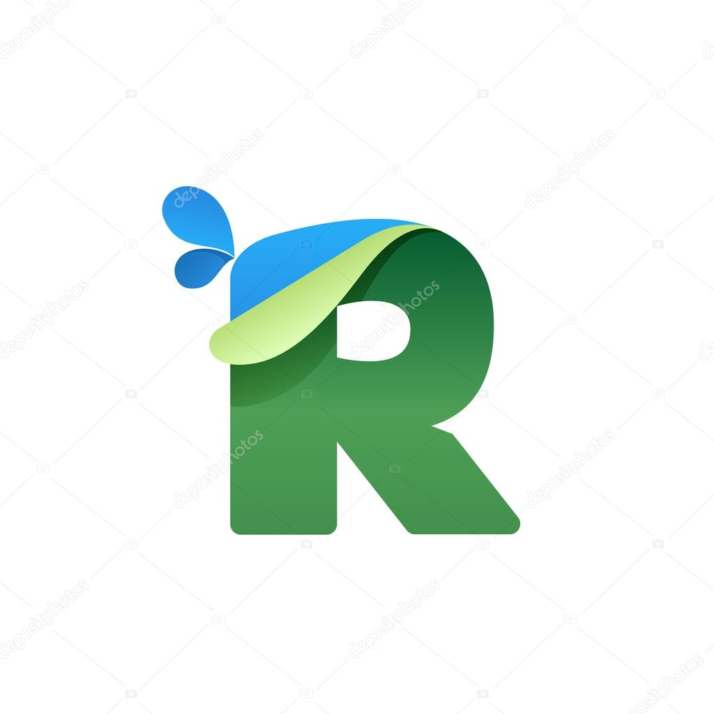 R letter logo with blue drops