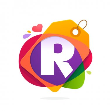 R letter logo with Sale tag.