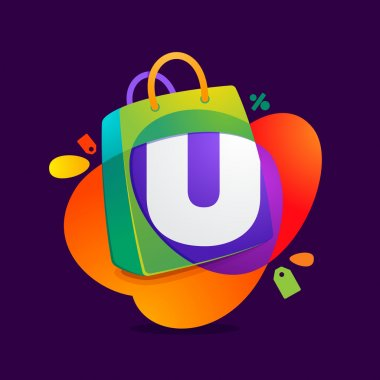 U letter with shopping bag icon and Sale tag.