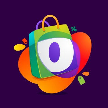 O letter with shopping bag icon and Sale tag.
