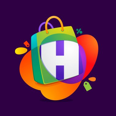 H letter with shopping bag icon and Sale tag.
