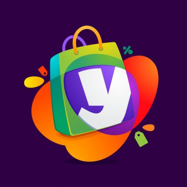 Y letter with shopping bag icon and Sale tag.