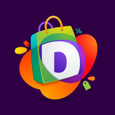D letter with shopping bag icon and Sale tag.