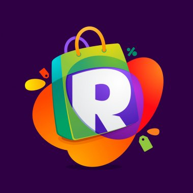 R letter with shopping bag icon and Sale tag.
