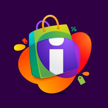 I letter with shopping bag icon and Sale tag.
