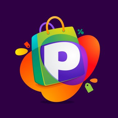 P letter with shopping bag icon and Sale tag.