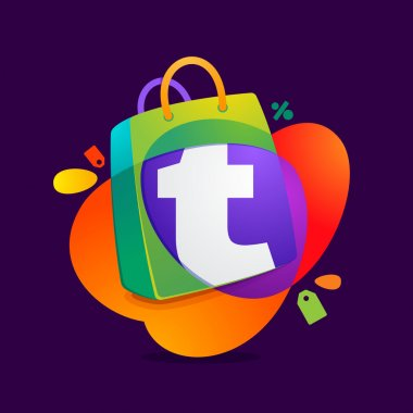 T letter with shopping bag icon and Sale tag.