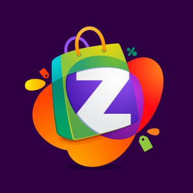 Z letter with shopping bag icon and Sale tag.