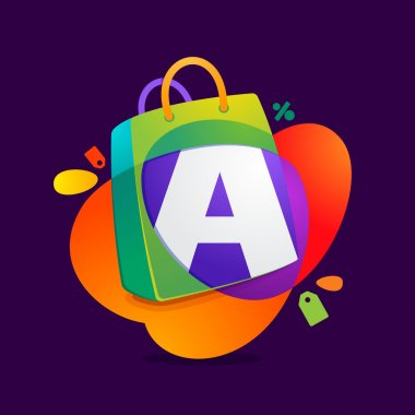Letter A with shopping bag icon and Sale tag.