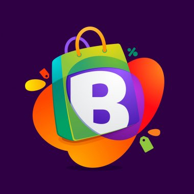 B letter with shopping bag icon and Sale tag.