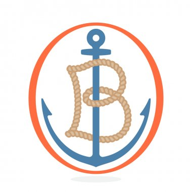 B letter logo formed by rope with an anchor.
