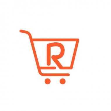 R letter with Shopping cart icon.