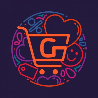 G letter with shopping cart icon