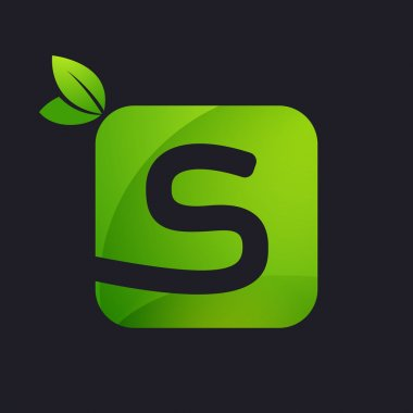 S letter logo with square and green leaves.