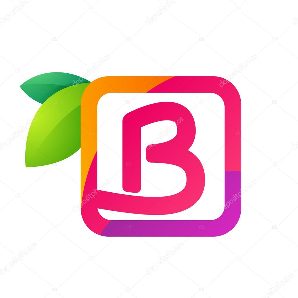 B letter in square with juice and green leaves.