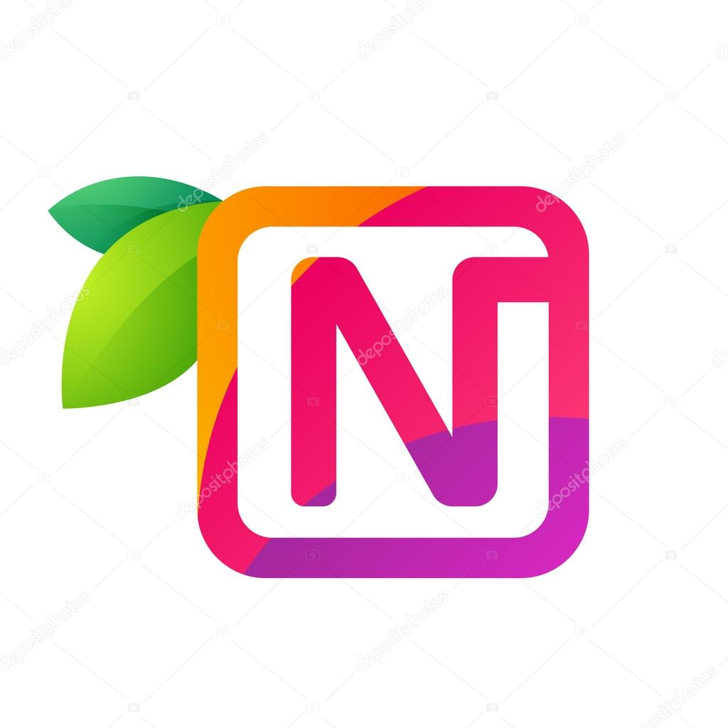 N letter in square with juice and green leaves.