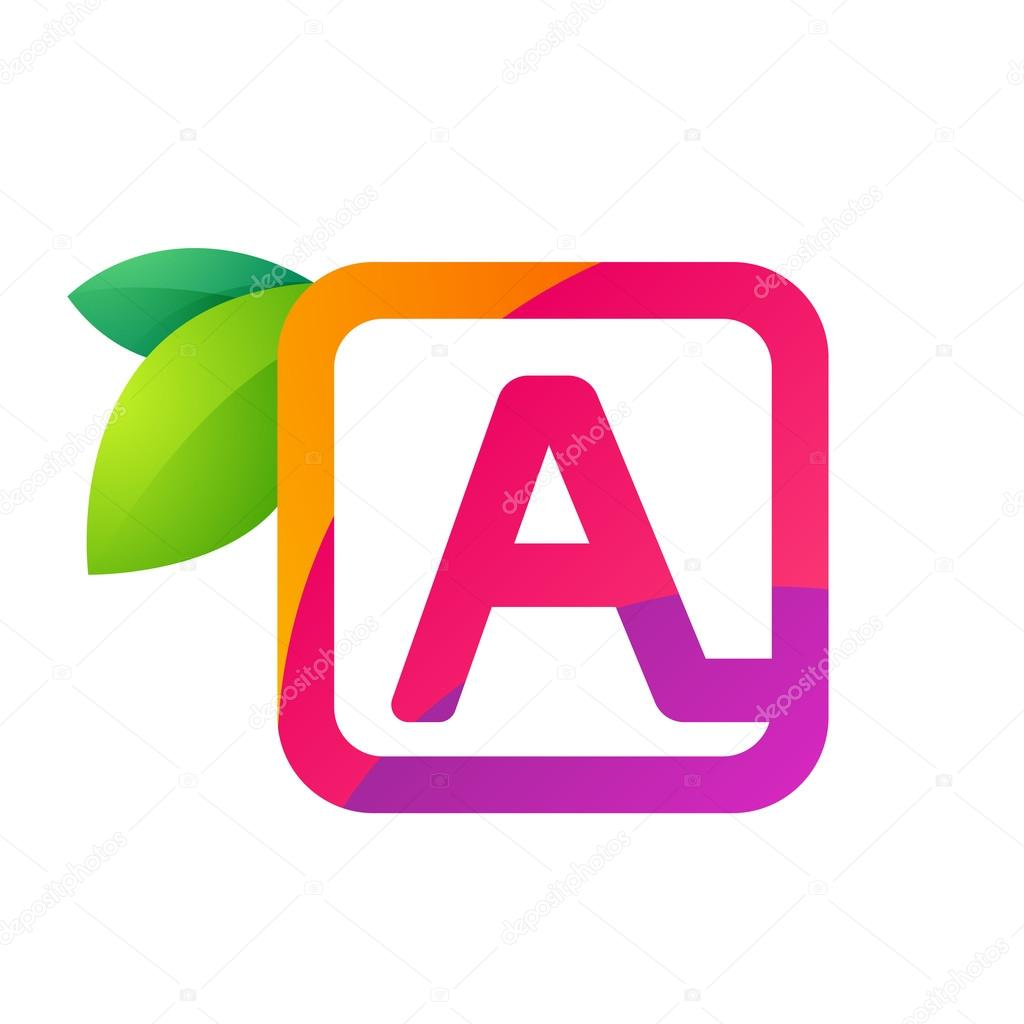 Letter A in square with juice and green leaves.