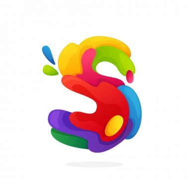 S letter logo with colorful juice splashes.