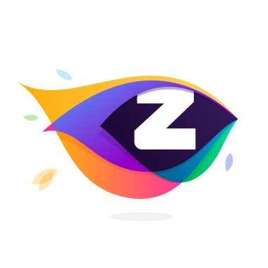 Letter Z logo in peacock feather icon.
