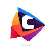 Letter C logo in triangle intersection icon.