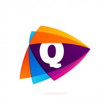 Letter Q logo in Play button icon. Triangle intersection icon.