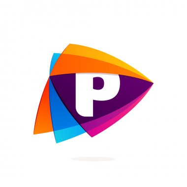 Letter P logo in Play button icon. Triangle intersection icon.