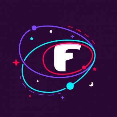 Letter F logo in space orbits, stars and and planets.