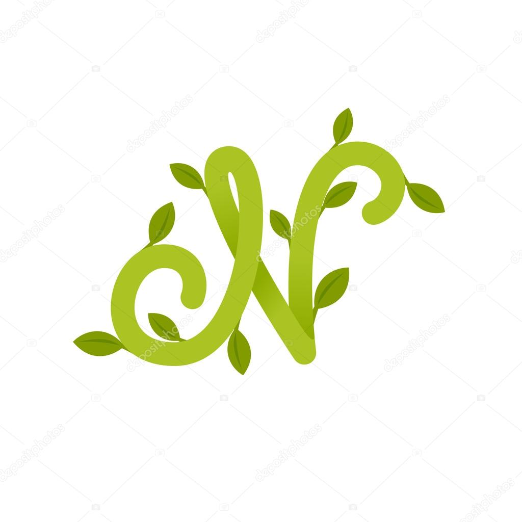 Letter N logo with green leaves.