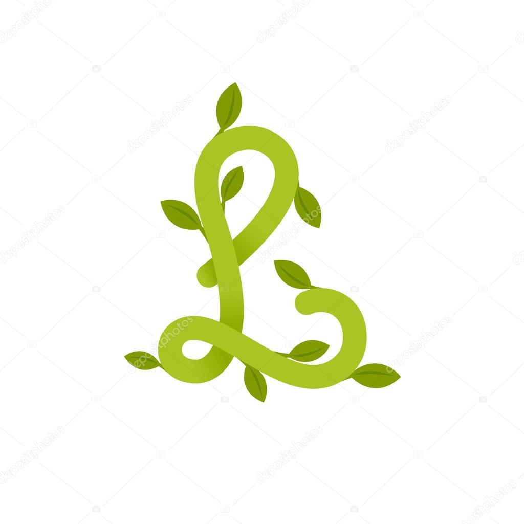 Letter L logo with green leaves.